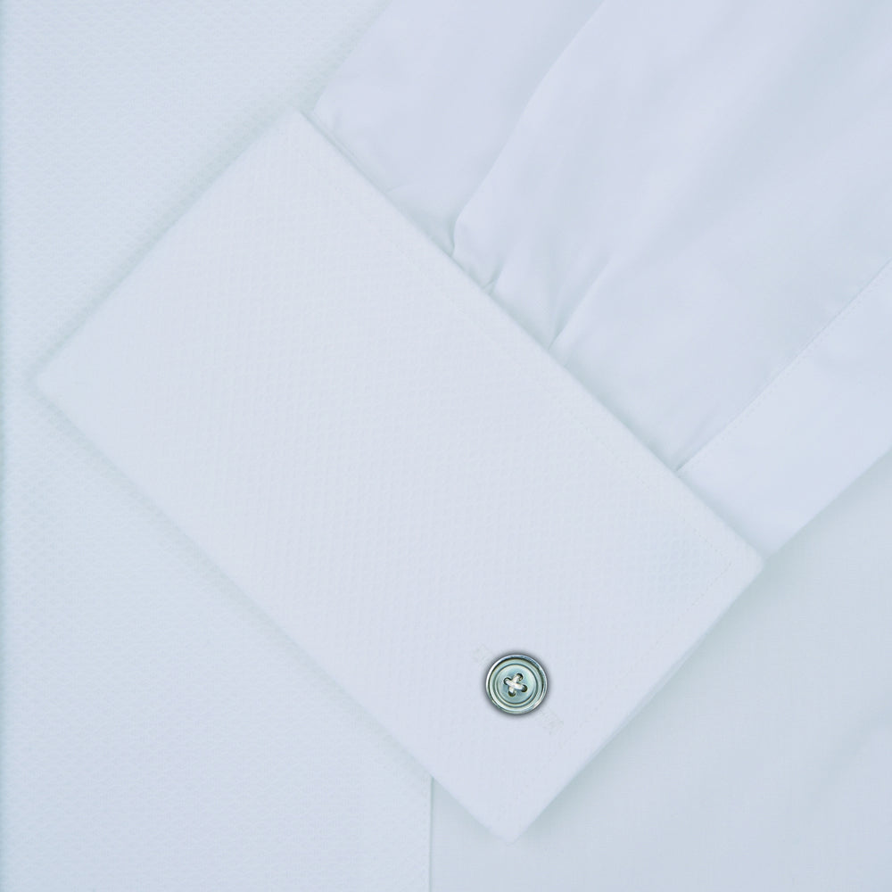 White Cotton Dress Shirt with Wing Collar and Double Cuffs