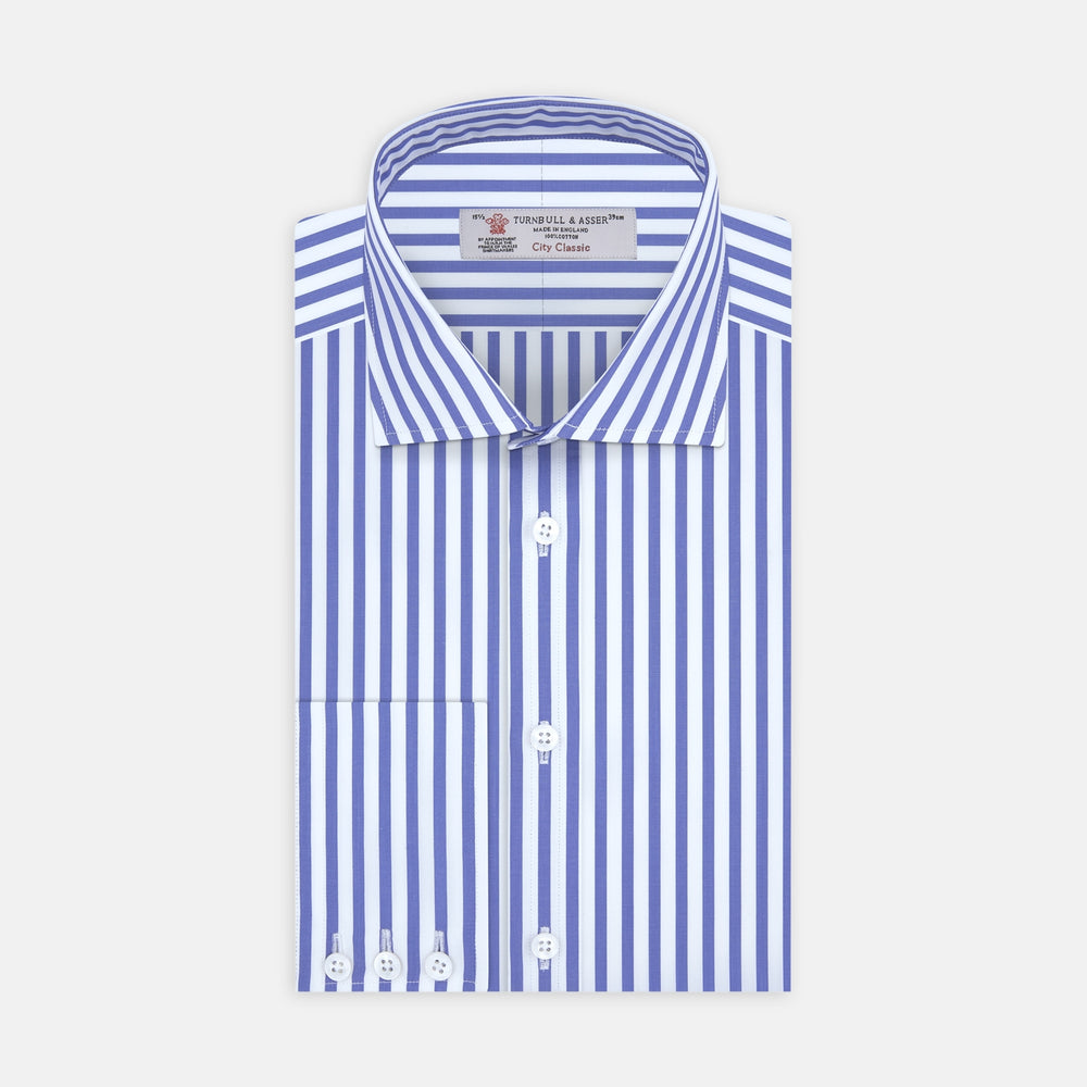 Blue and White Candy Stripe Shirt with Regent Collar and 3-Button Cuffs