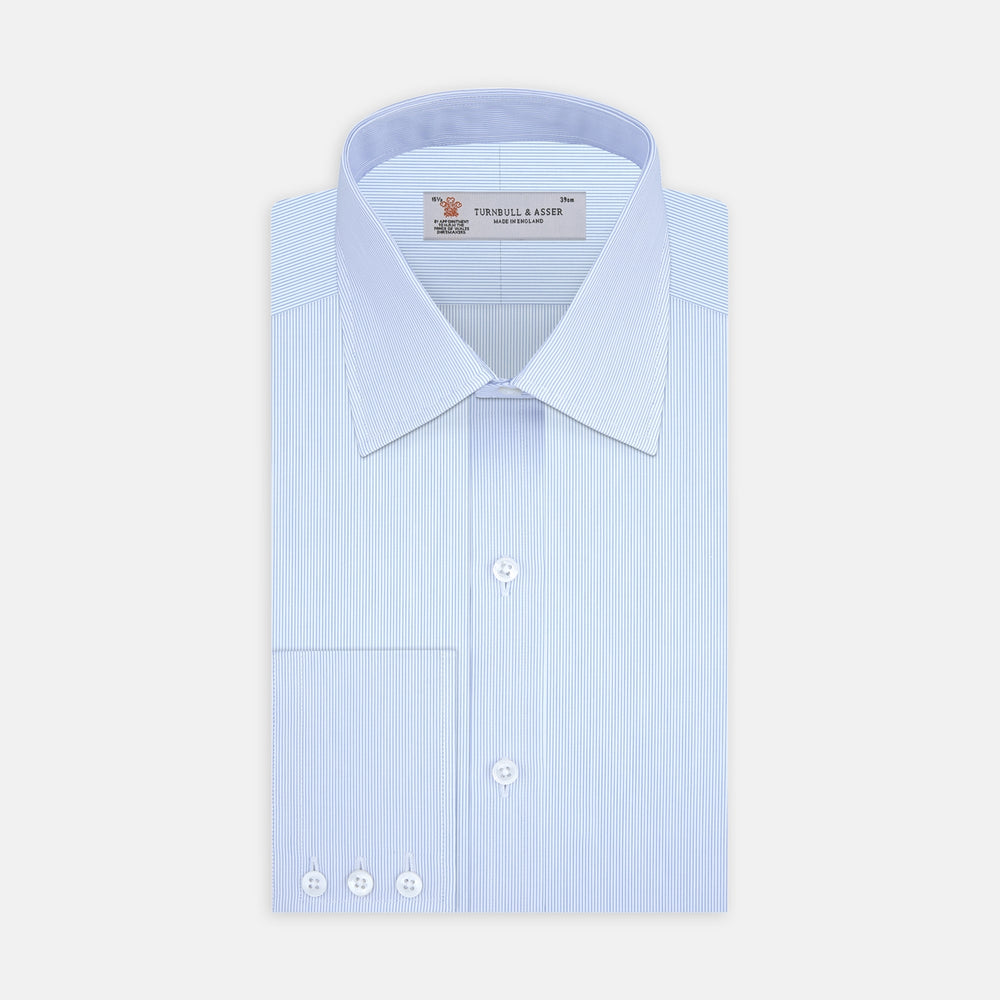 Blue Hairline Stripe Shirt with T&A Collar and Double Cuffs