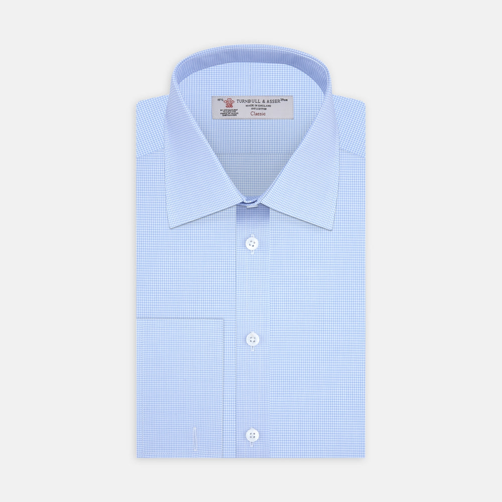Sky Blue Micro-Check Shirt with T&A Collar and Double Cuffs