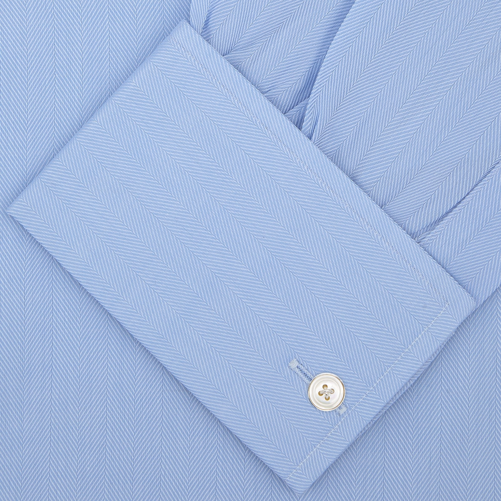Light Blue Herringbone Superfine Cotton Shirt with T&A Collar and Double Cuffs