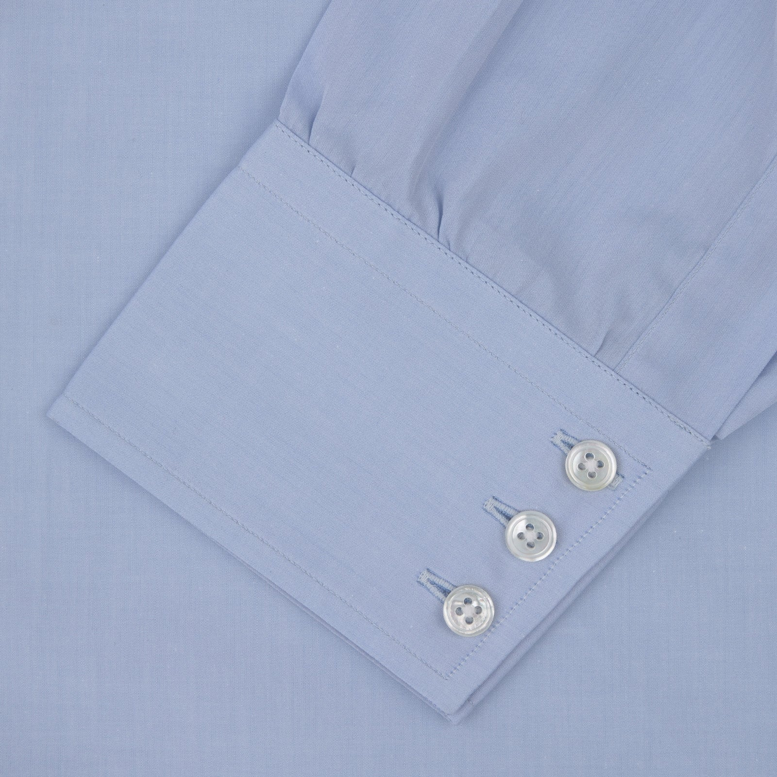 Blue West Indian Sea Island Cotton Shirt with T&A Collar and 3-Button Cuffs