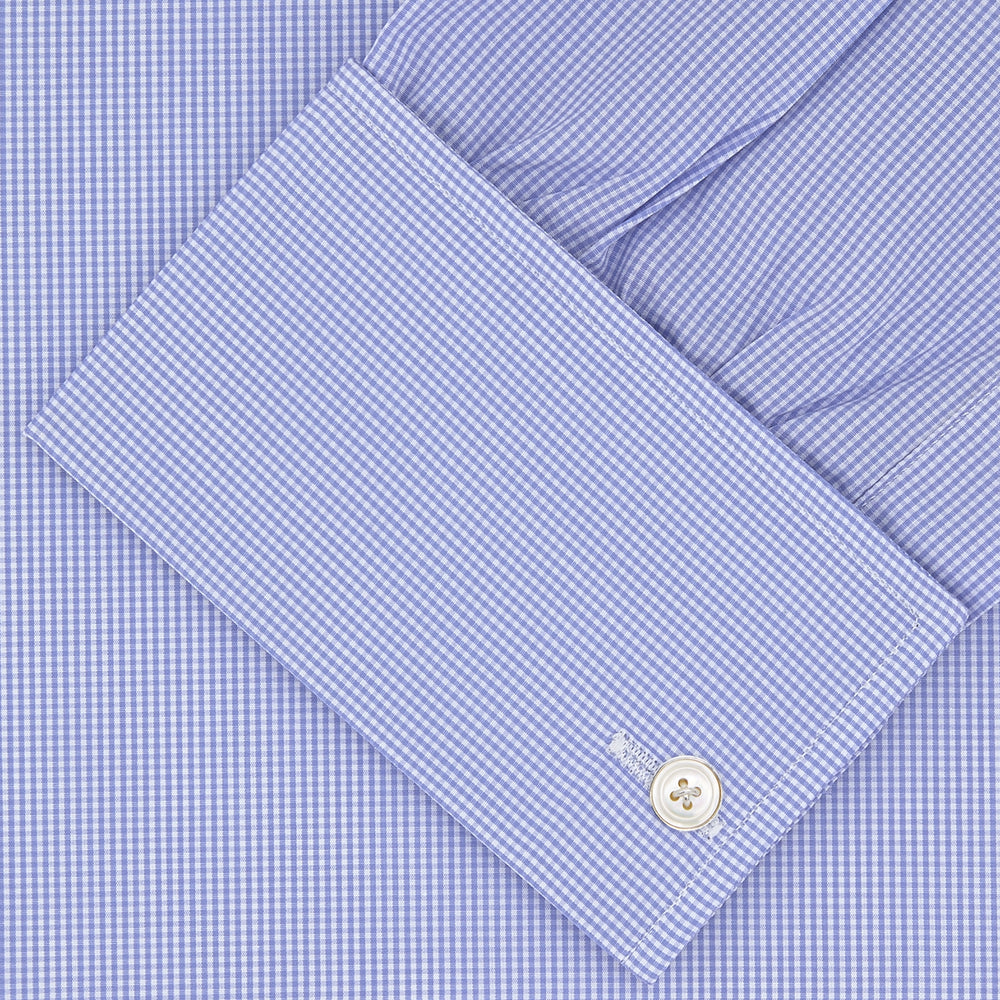 Blue Fine Check Sea Island Quality Cotton Shirt with Regent Collar and Double Cuffs