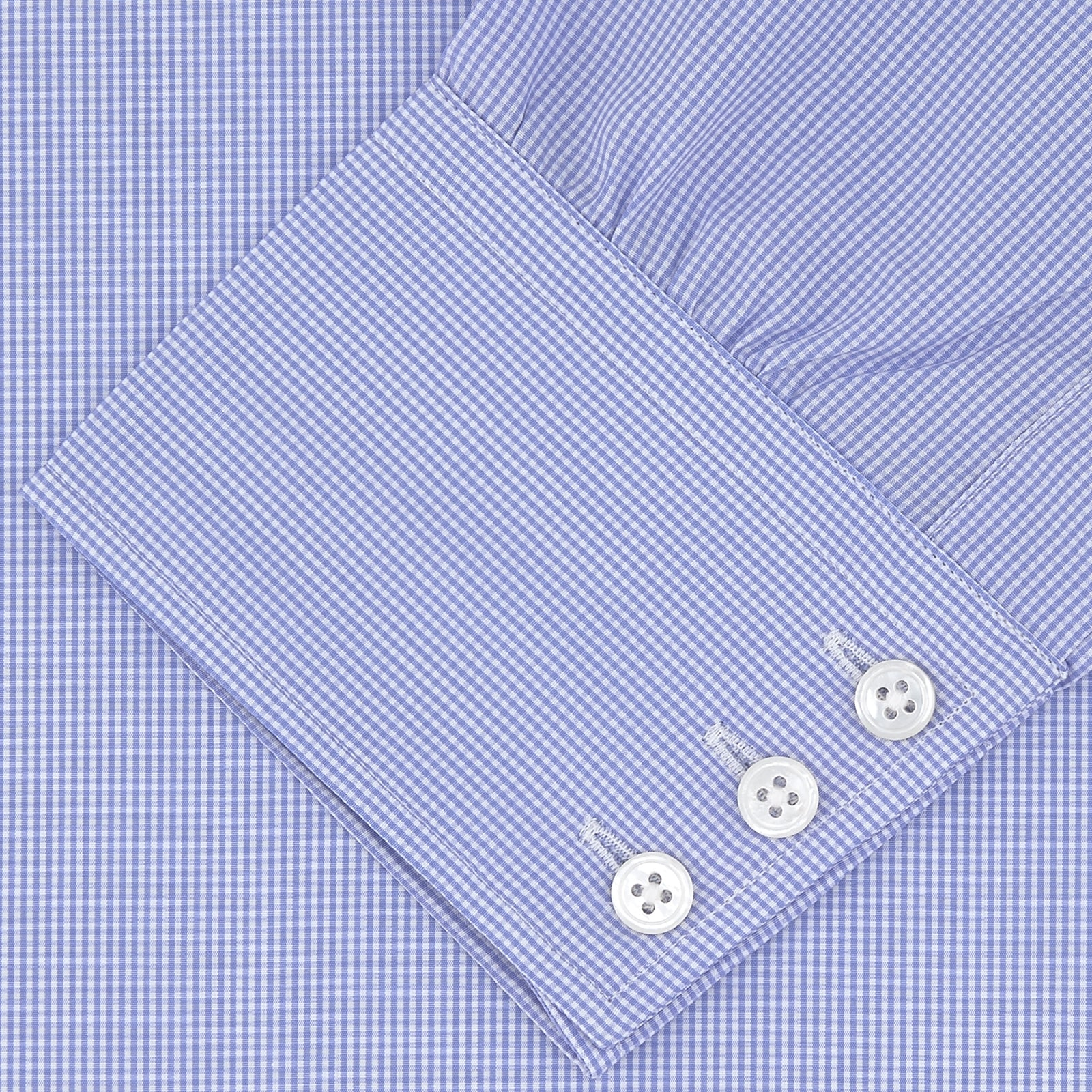 Blue Fine Check Sea Island Quality Cotton Shirt with Regent Collar and 3-Button Cuffs