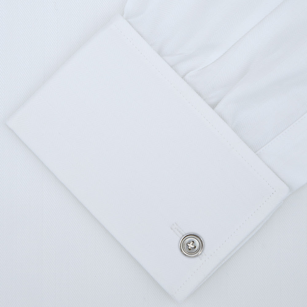White Self-On-Self Herringbone Sea Island Quality Cotton Shirt with Regent Collar and Double Cuffs