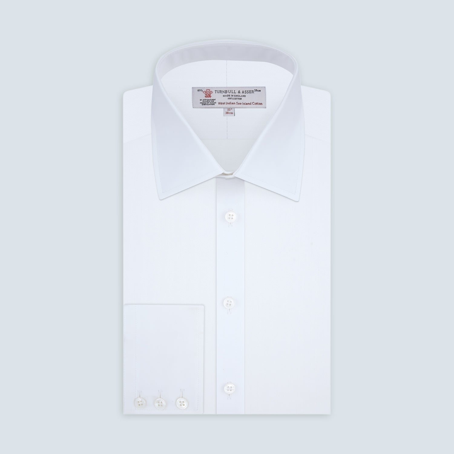 White Self-On-Self Herringbone Sea Island Quality Cotton Shirt with Regent Collar and 3-Button Cuffs