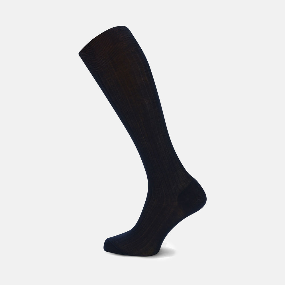 Navy Long Cotton Socks