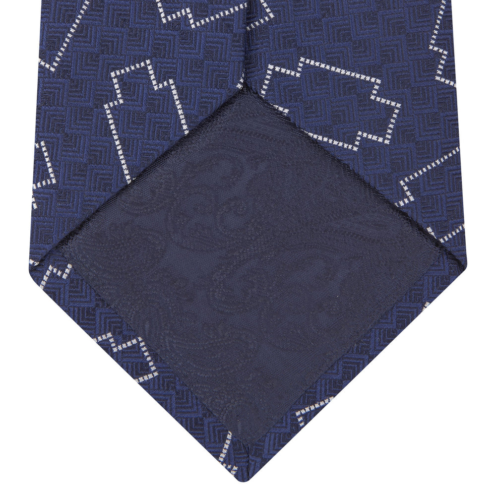 Geometric Navy and White Silk Tie