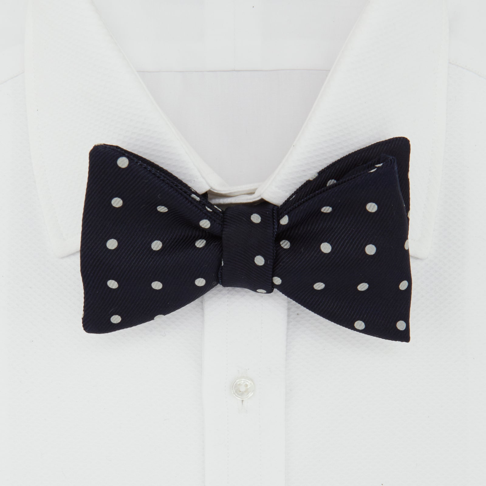 The Churchill Navy and White Spot Silk Bow Tie