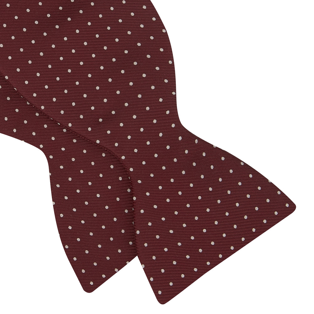 Burgundy and White Small Spot Printed Silk Bow Tie
