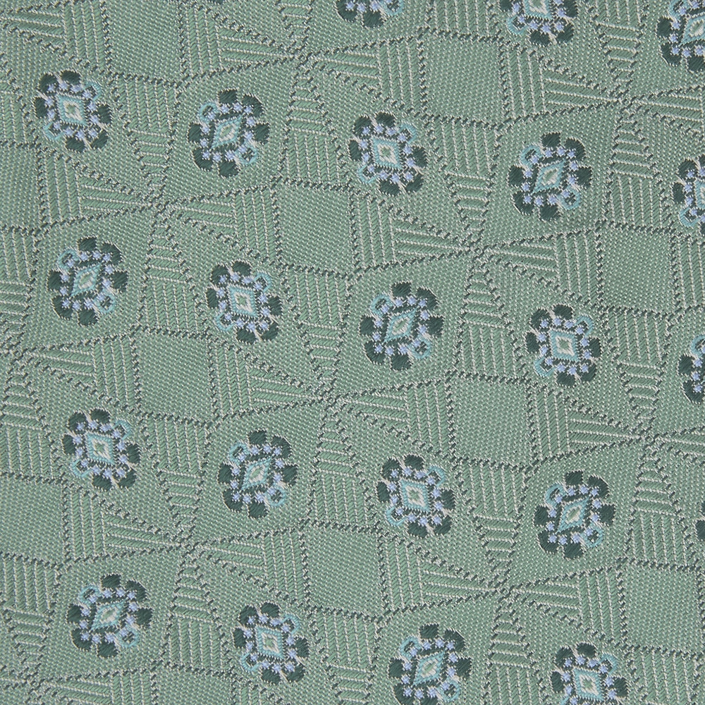 Green Star Flowers Silk Tie