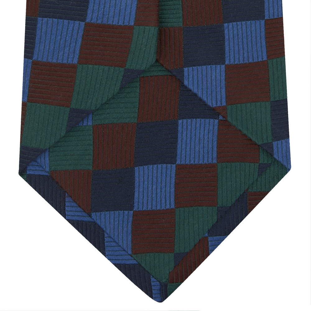 Navy and Blue Checkerboard Jacquard Wool Tie