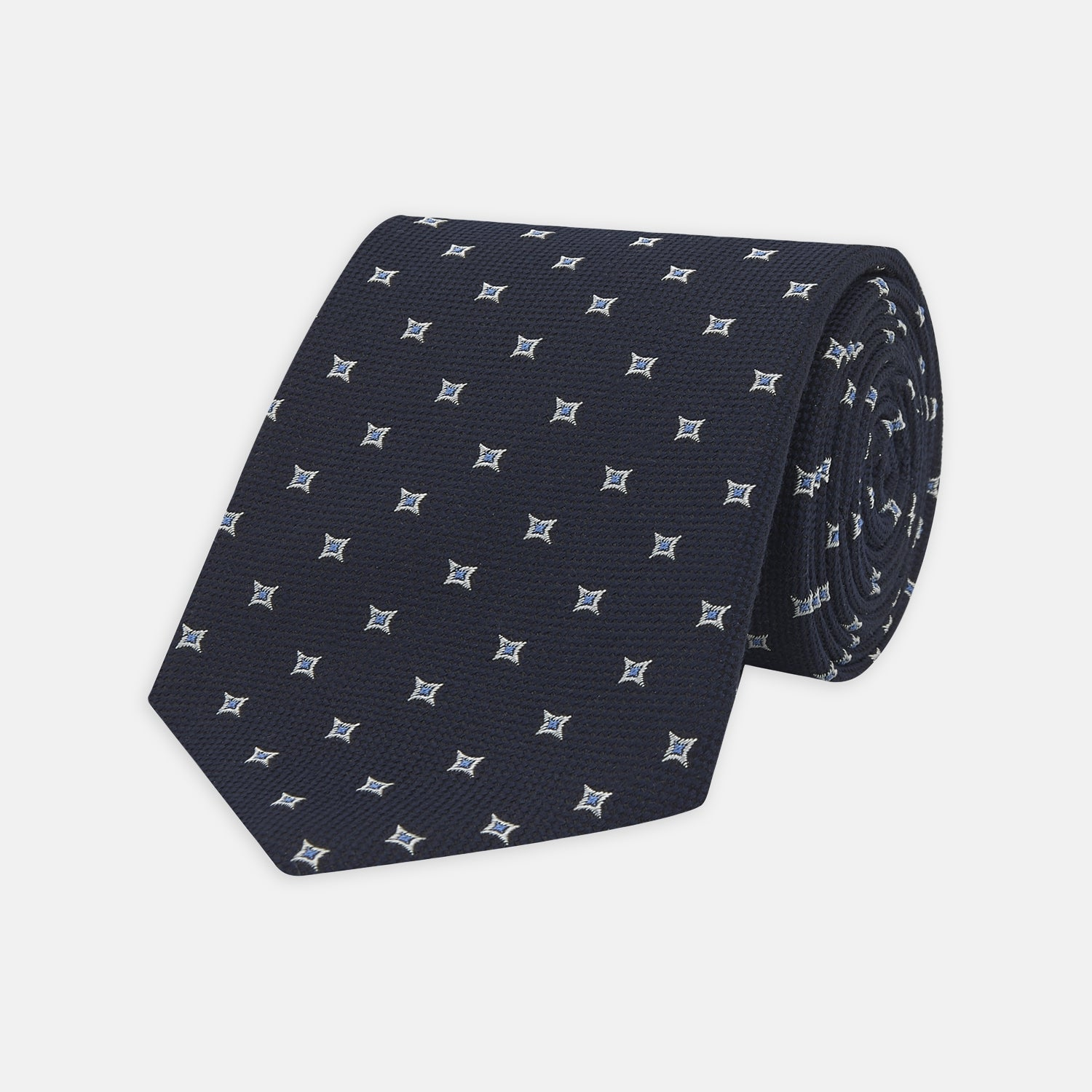 Navy Star Silk and Wool Blend Tie