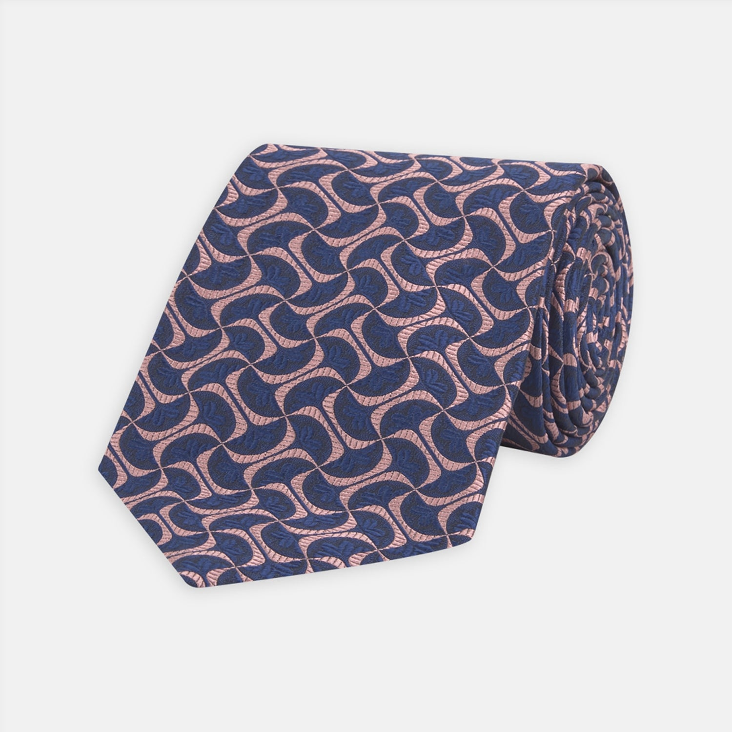Pink and Navy Geo Silk Tie