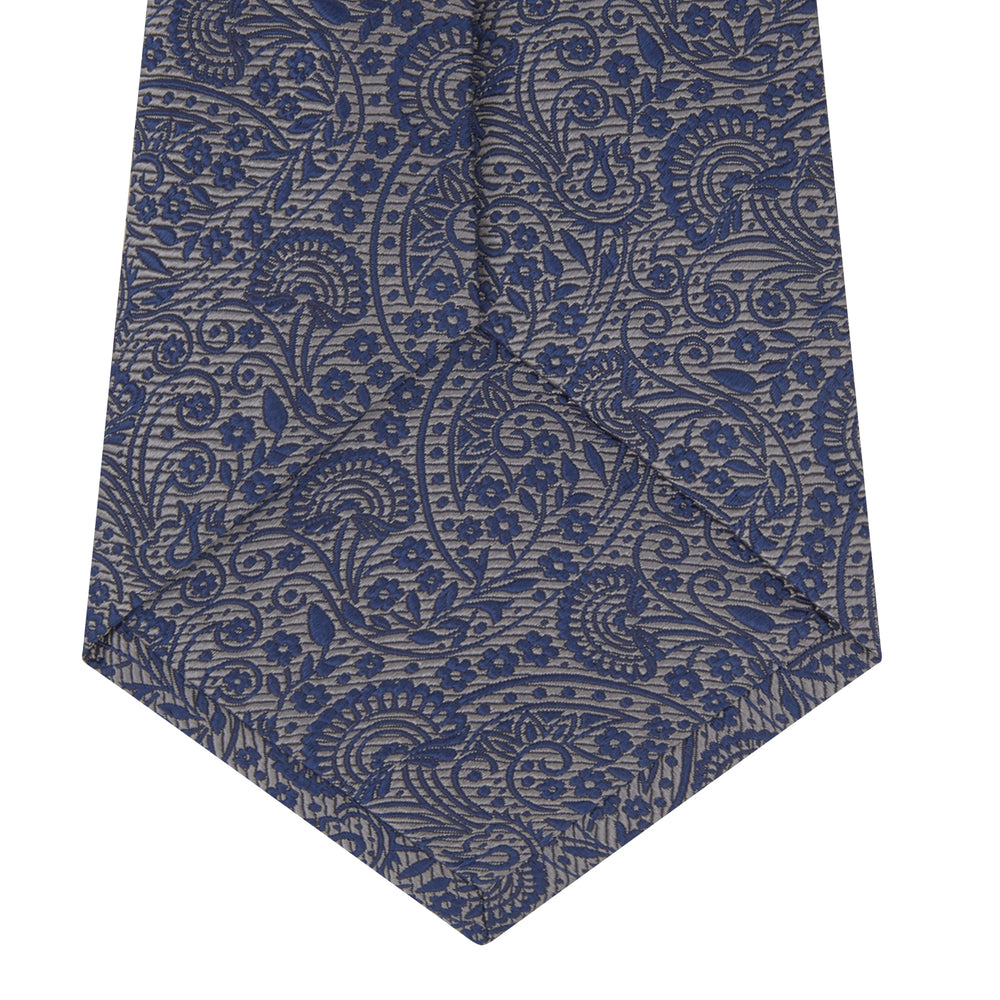 White and Navy Tonal Paisley Silk Tie