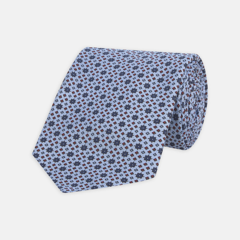 Sky Blue Geometric Silk Tie