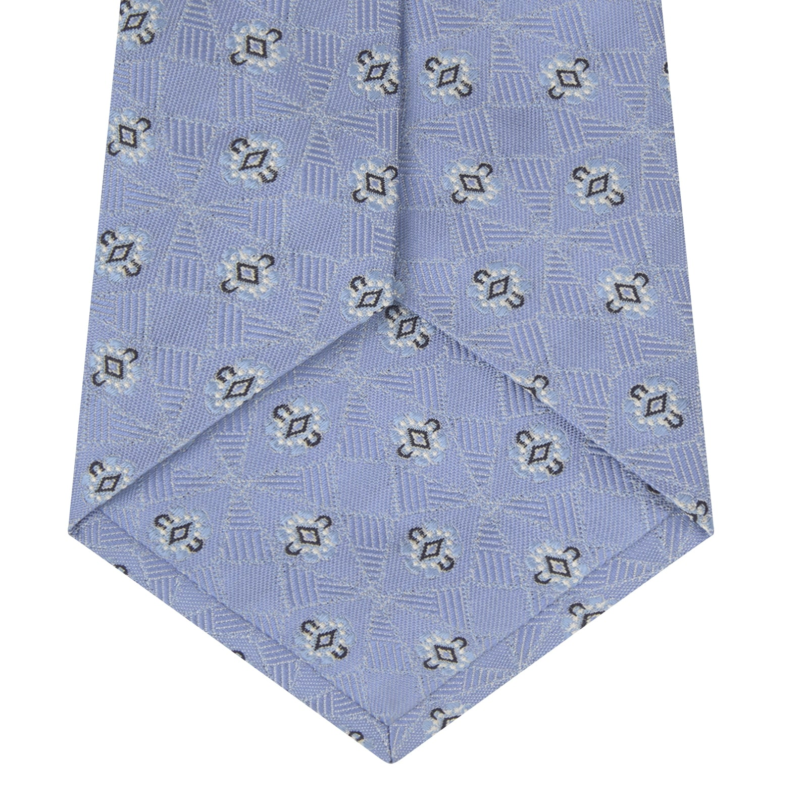 Sky Blue Star Flowers Silk Tie