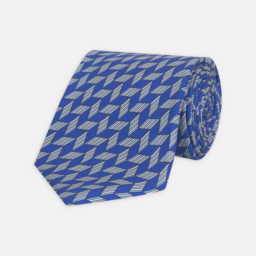 Blue Arrow Printed Silk Tie