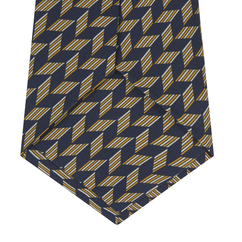 Blue and Gold Arrow Printed Silk Tie