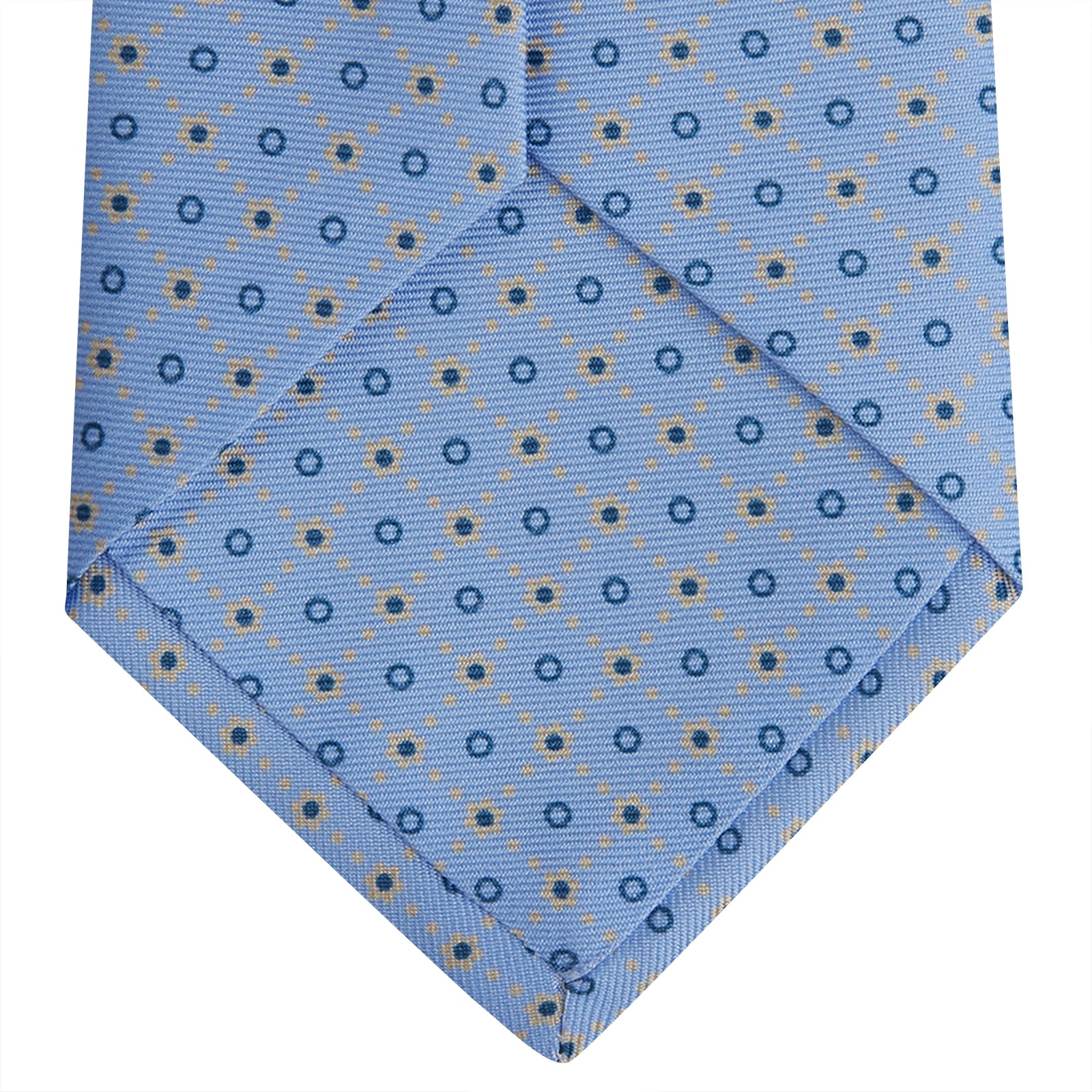 Sky Blue Dotted Floral Printed Silk Tie