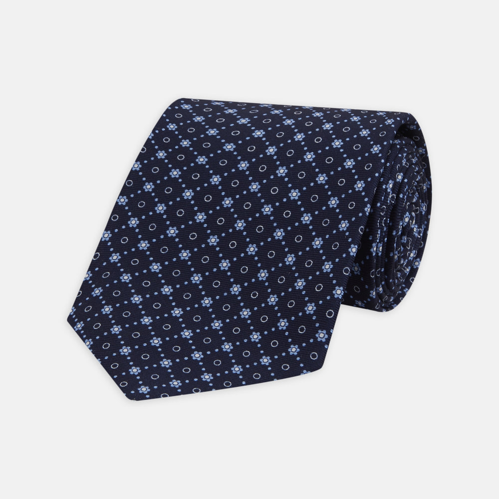 Navy Dotted Floral Printed Silk Tie