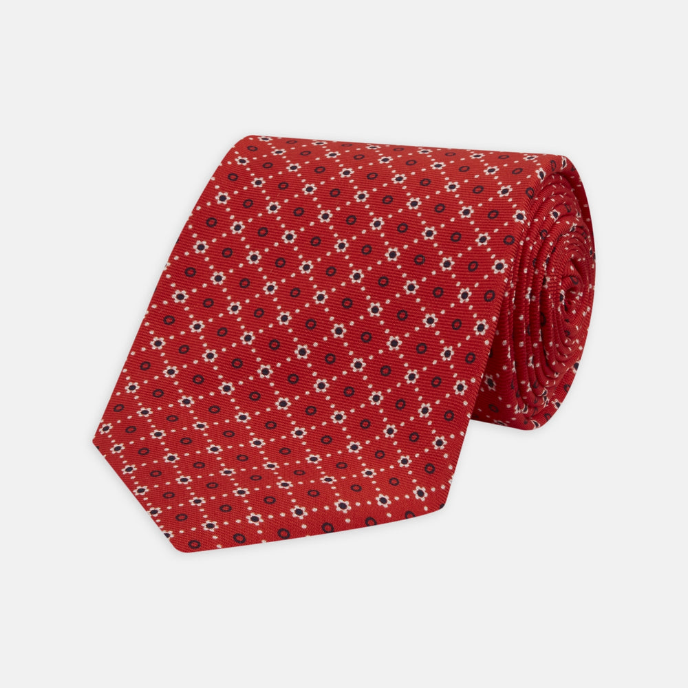 Red Dotted Floral Printed Silk Tie