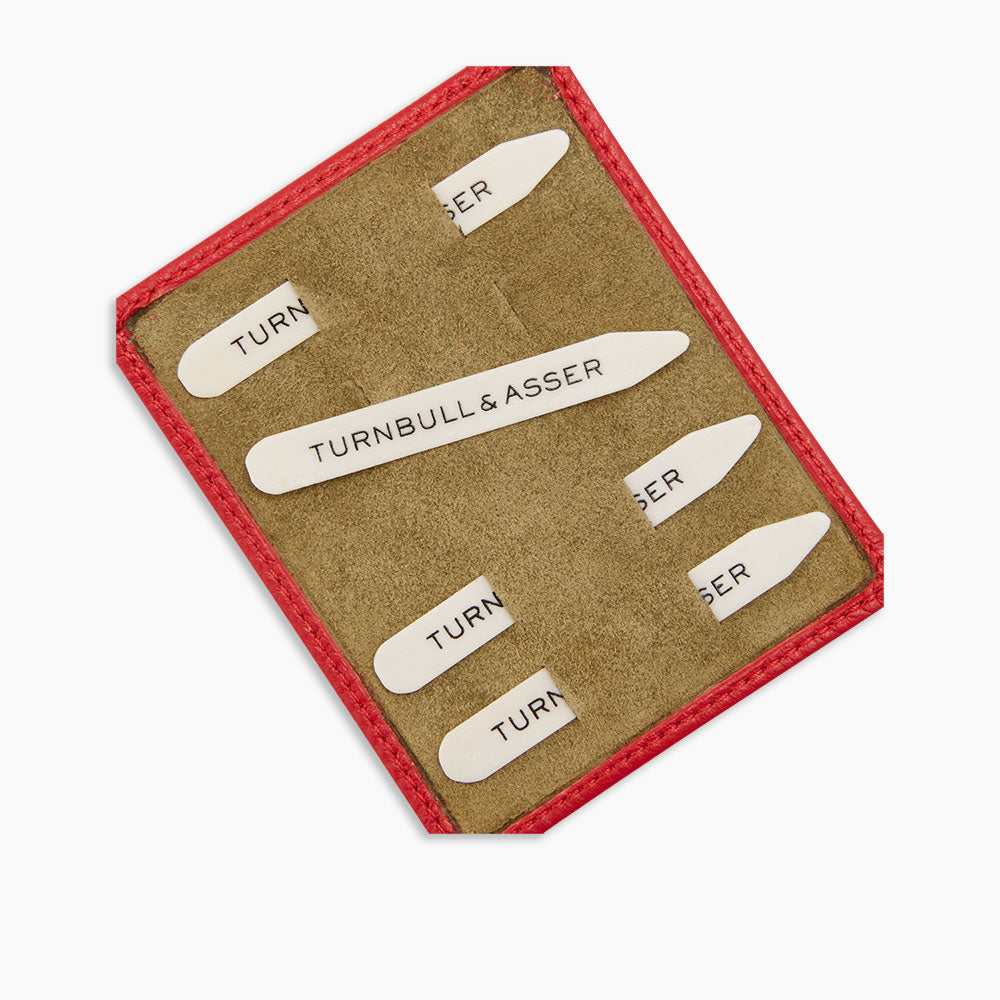 Bone Collar Stays in Red Leather Lined Olive Suede Tray