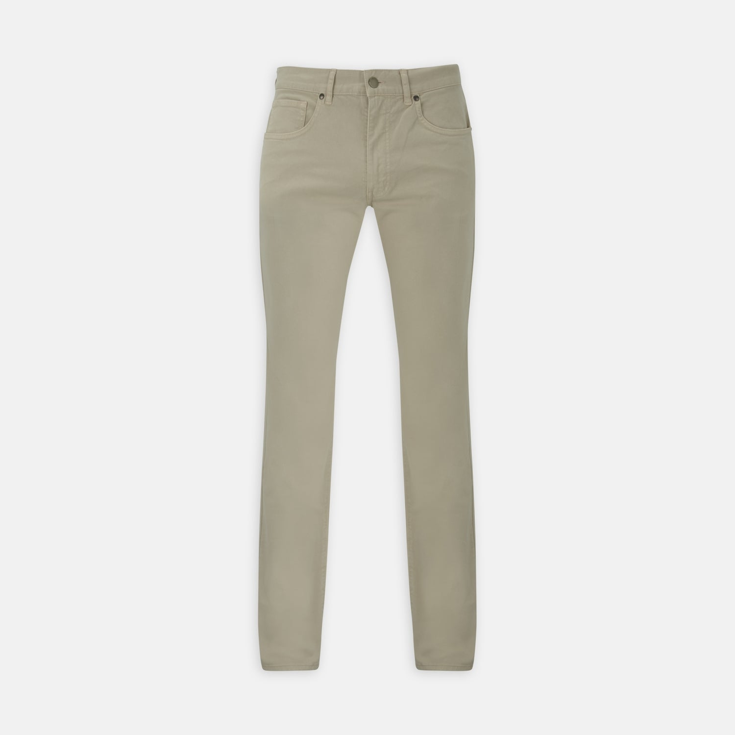 Stone Cotton Five Pocket Trousers