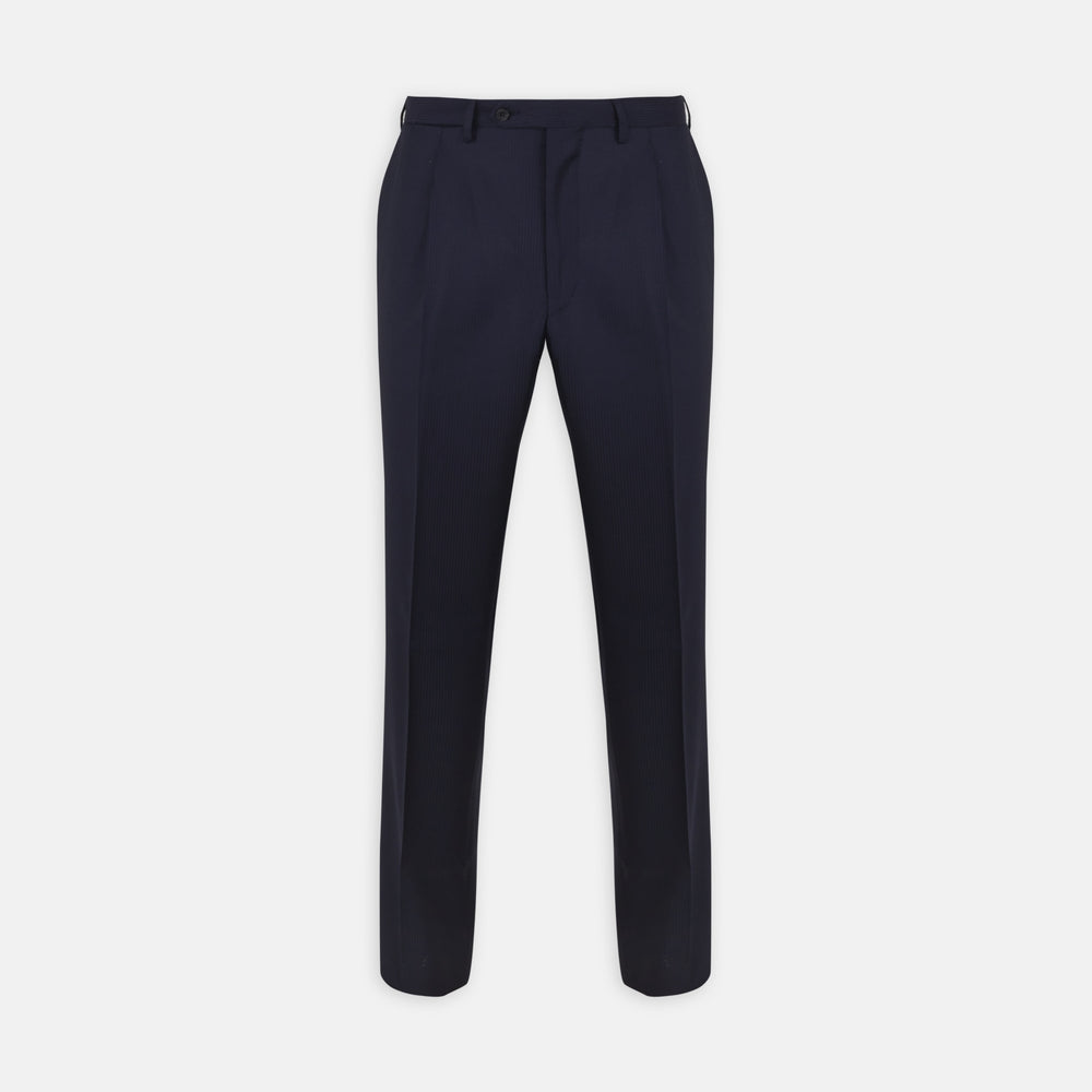 Navy Worsted Wool Pleated Formal Trousers