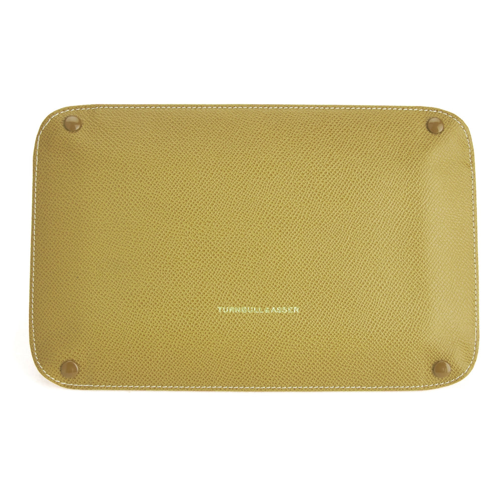 Yellow and Red Rectangular Leather Travel Tray
