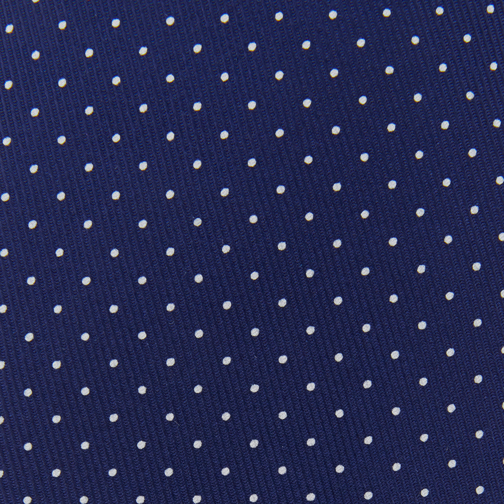 Blue and White Small Spot Printed Silk Tie