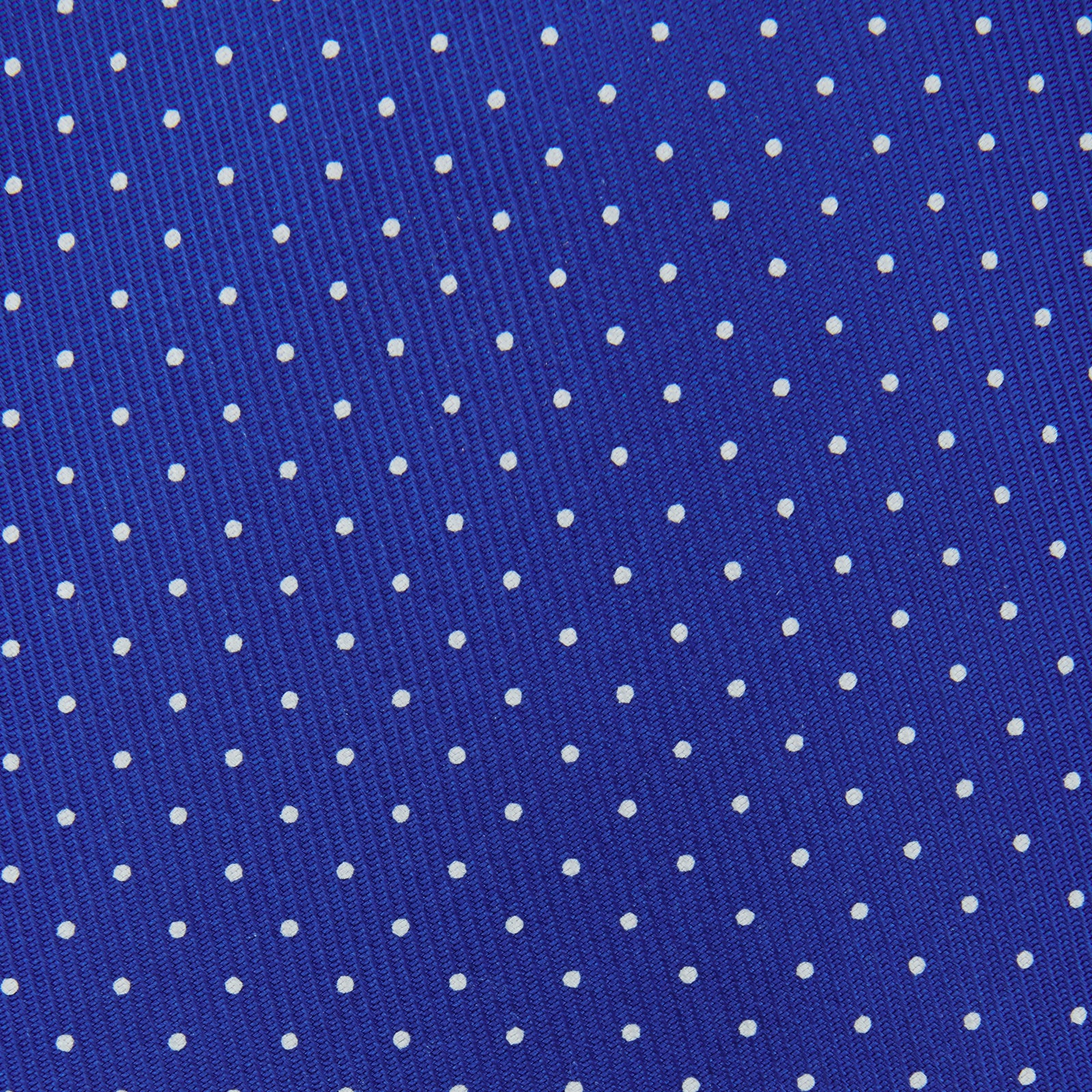 Slim Royal Blue and White Small Spot Printed Silk Tie