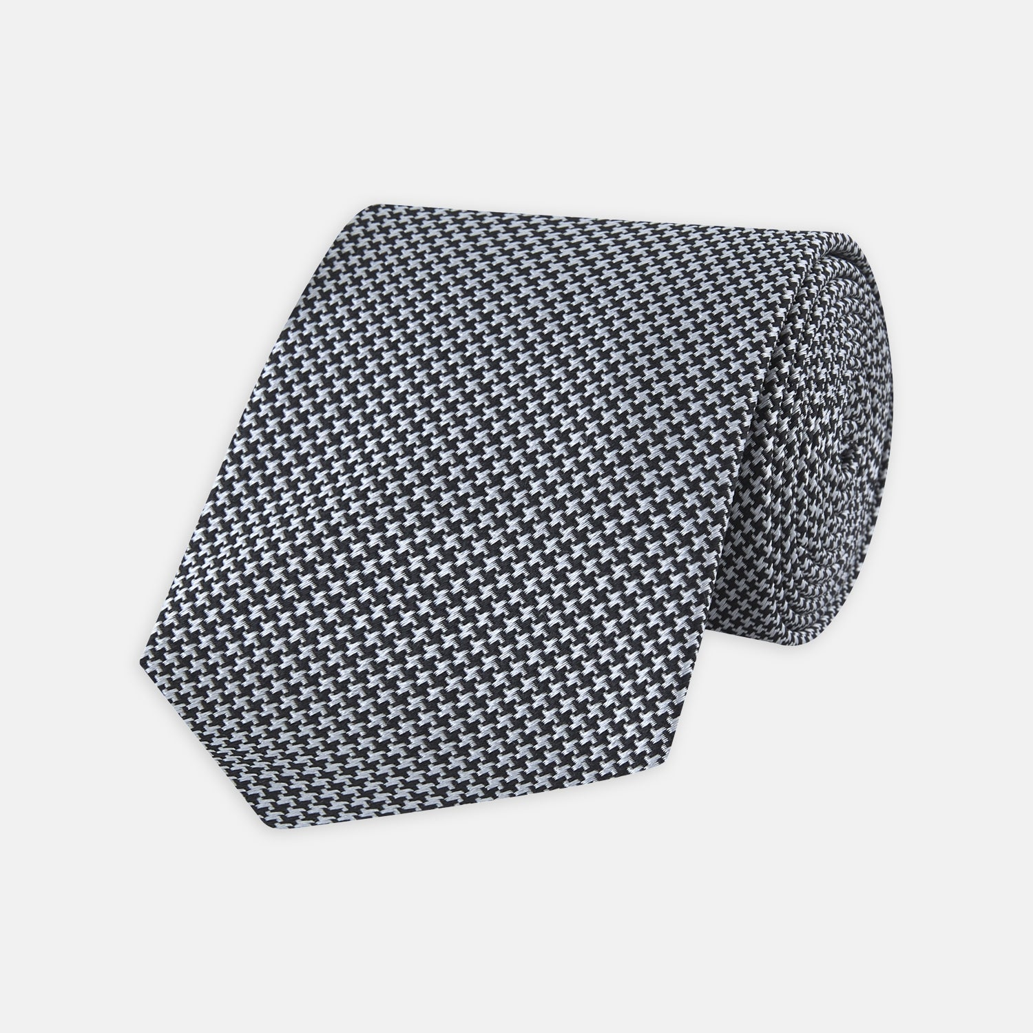 Slim Black Houndstooth Silk Tie