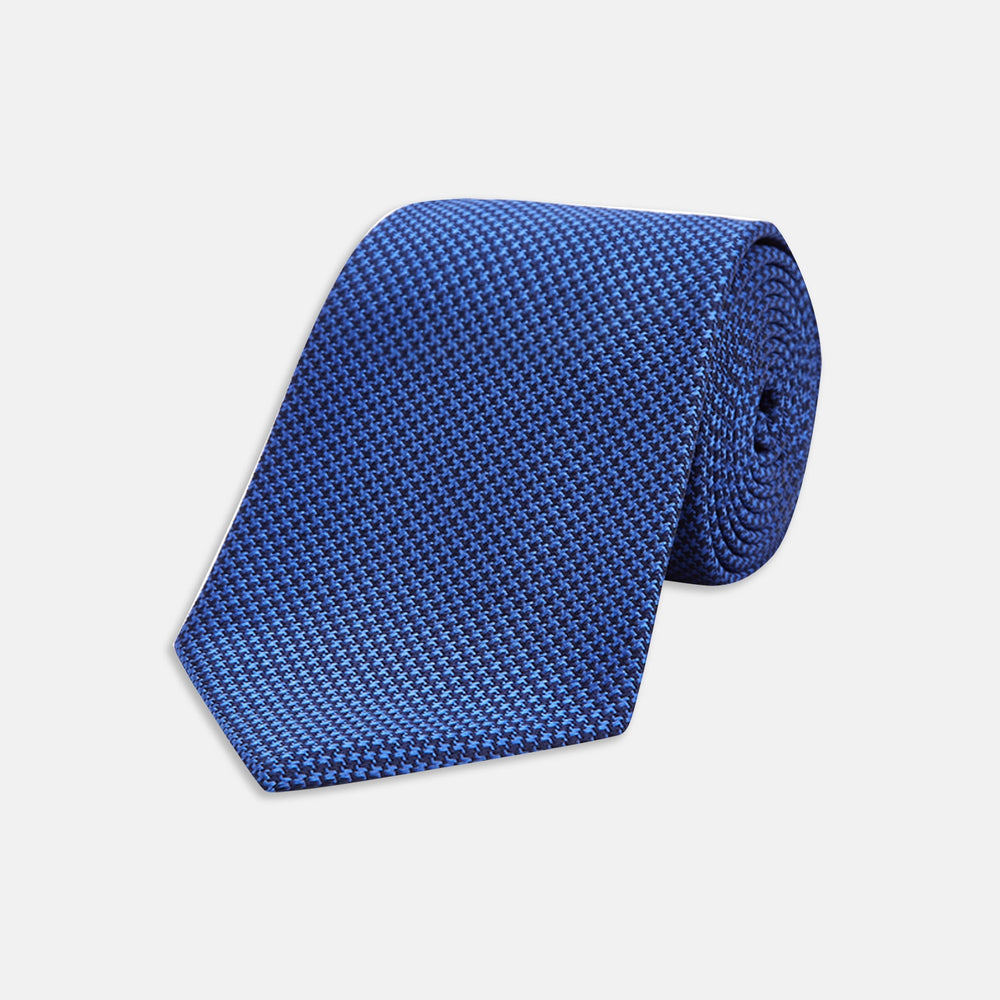 Seven-Fold Navy and Royal Blue Houndstooth Silk Tie