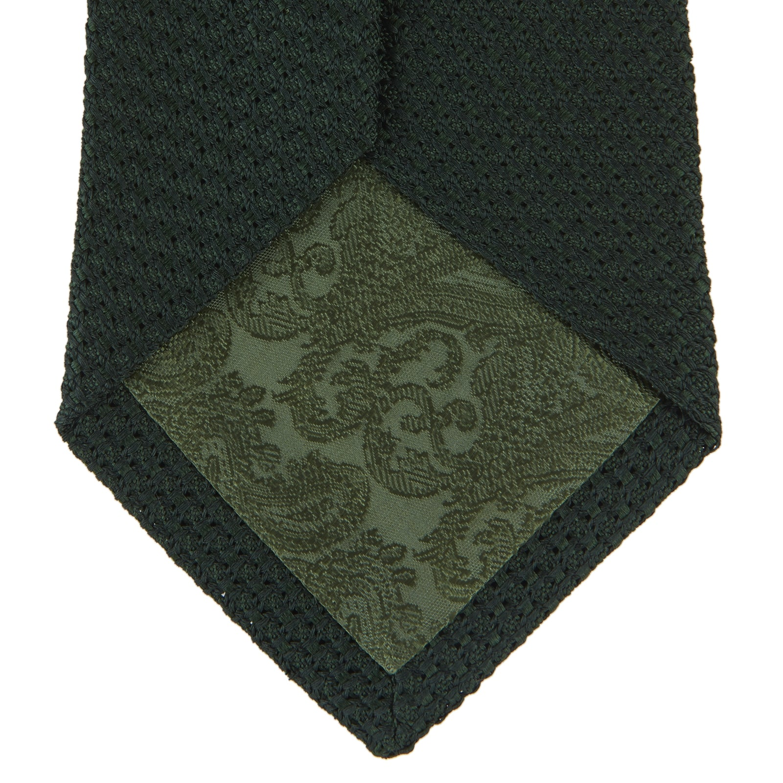 Seven-Fold Dark Green Grenadine Silk Tie