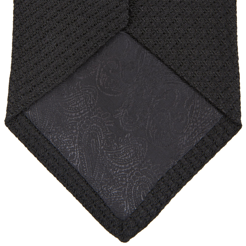 Slim Black Grenadine Silk Tie