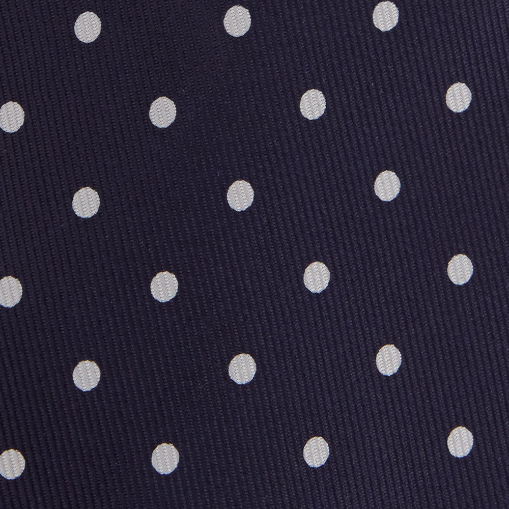 Seven-Fold Navy Churchill Spot Silk Tie