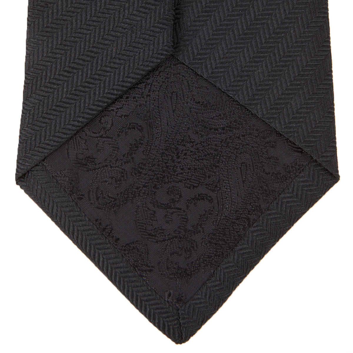 Black Herringbone Silk Tie