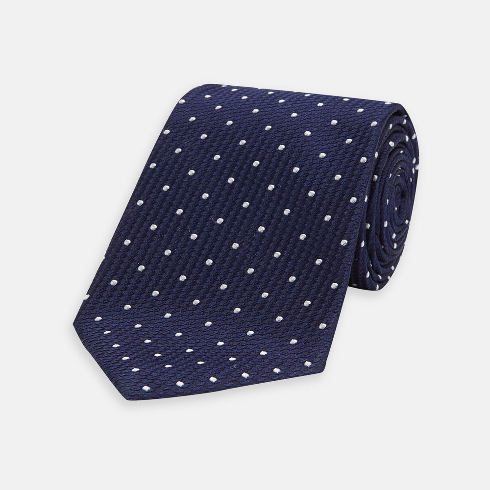 Navy and White Spot Lace Silk Tie