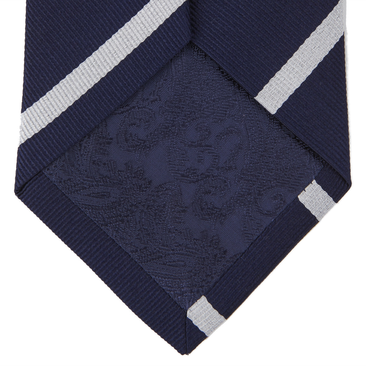 Seven-Fold Navy and White Blazer Stripe Repp Silk Tie