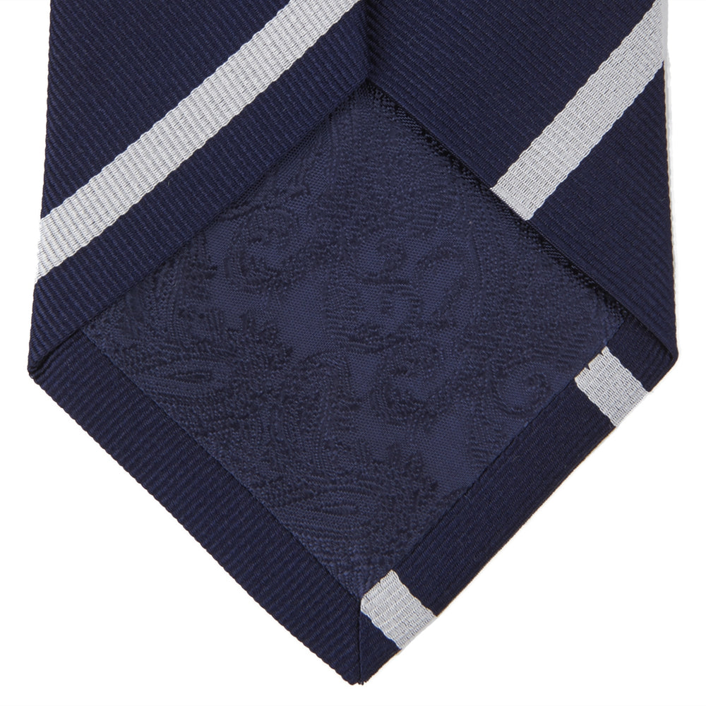 Long Navy and White Blazer Stripe Repp Silk Tie
