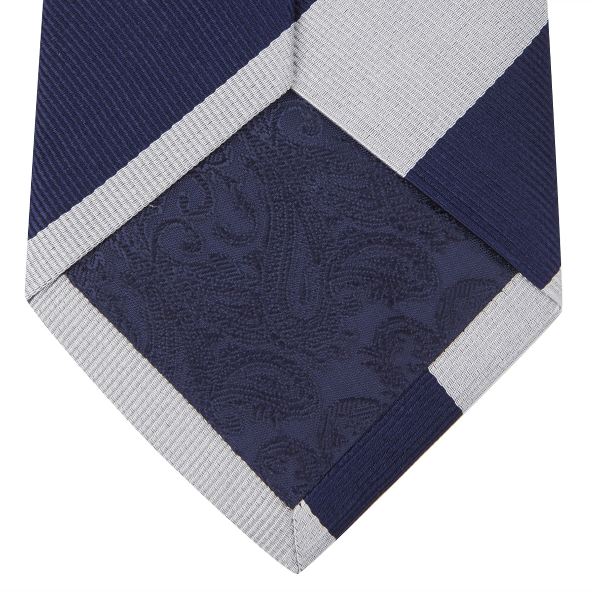 Long Navy and Off-White Block Stripe Repp Silk Tie