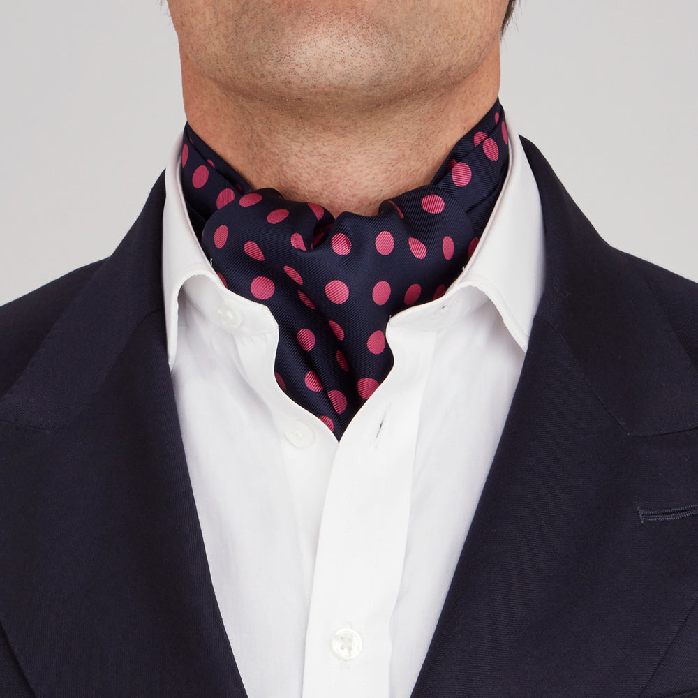Navy and Pink Large Spot Silk Ascot Tie