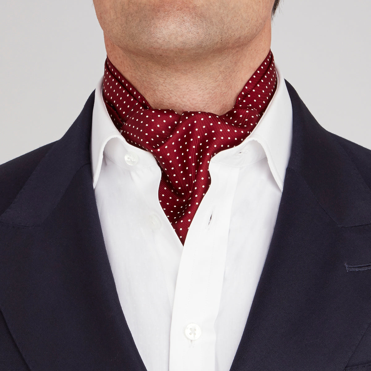Burgundy and White Mini Spot Silk Ascot Tie