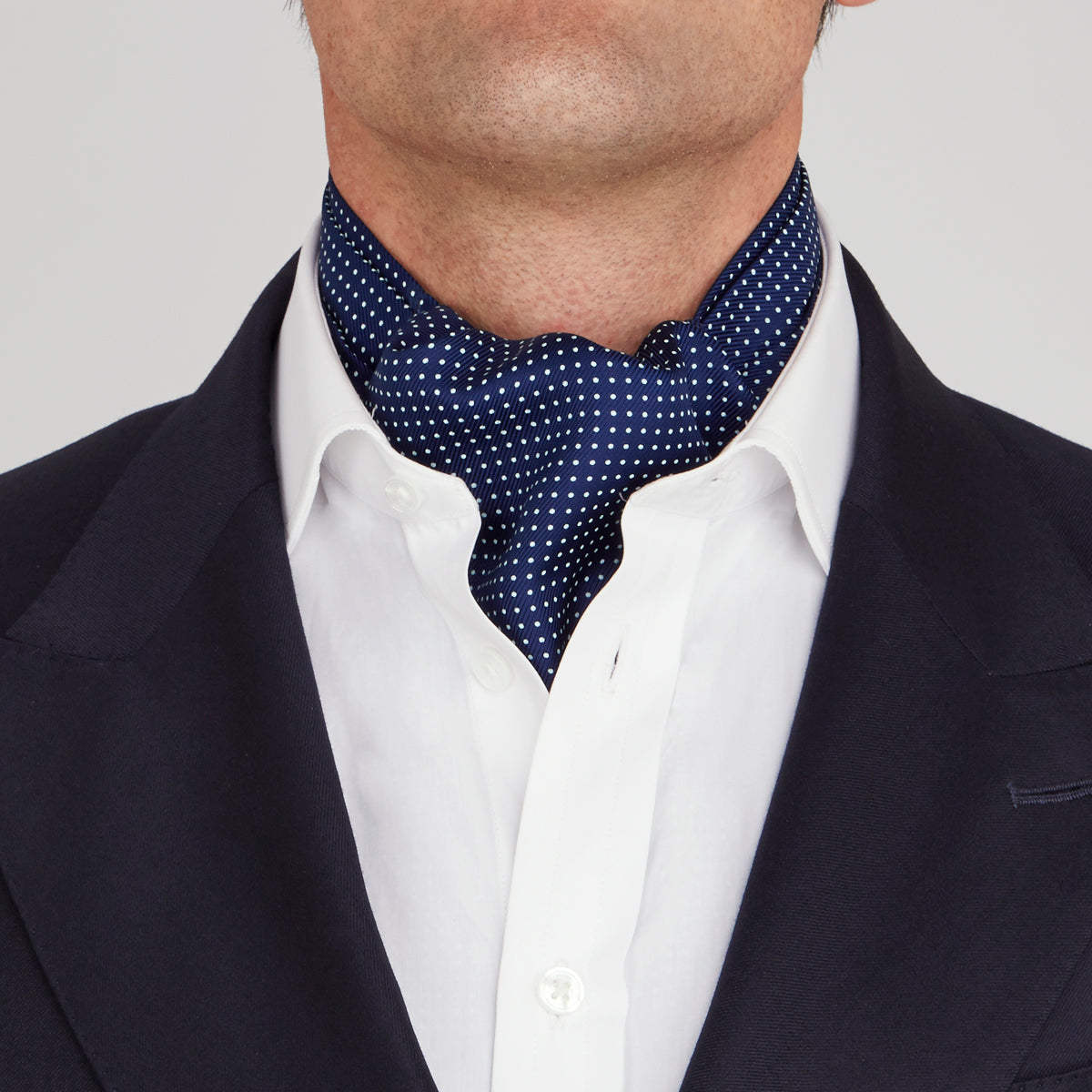 Dark Blue and White Mini Spot Silk Ascot Tie