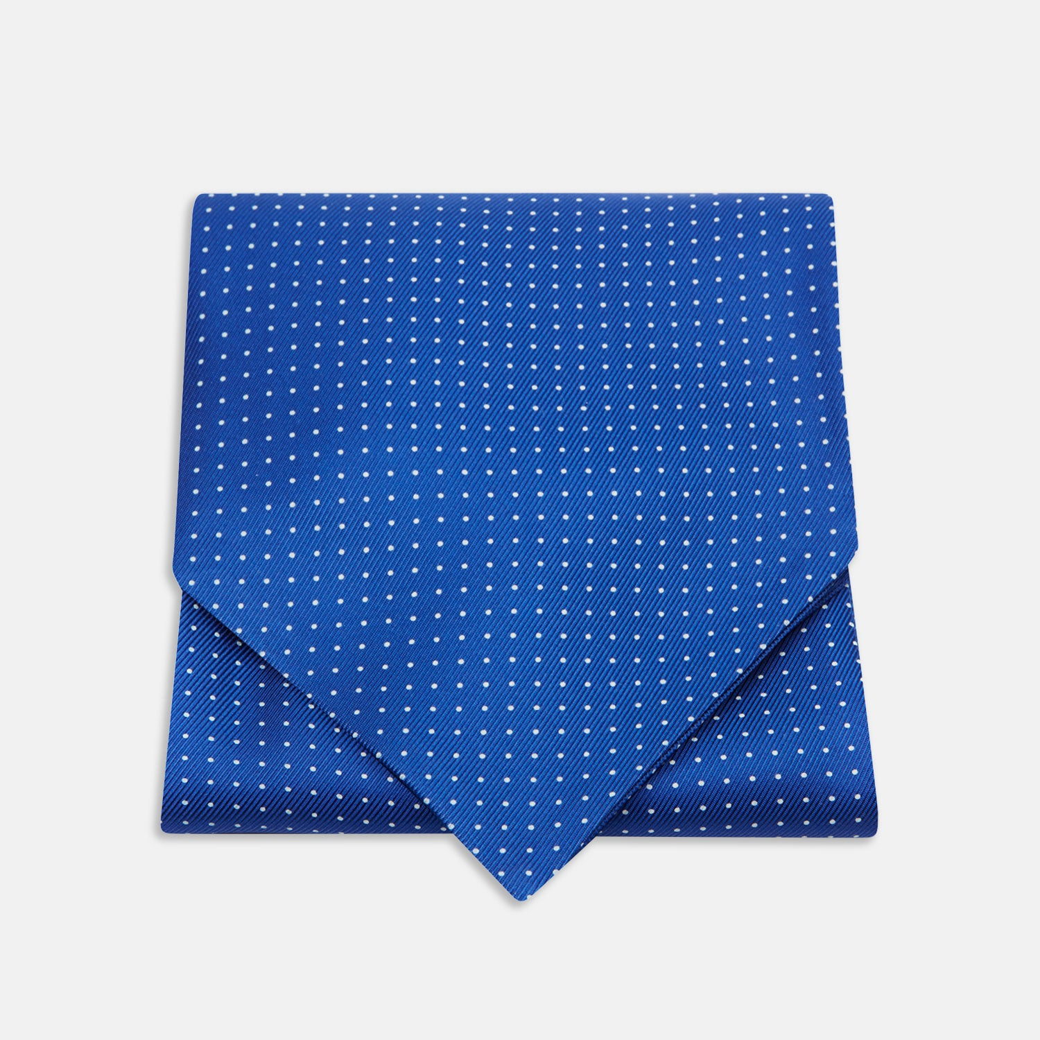 Royal Blue and White Small Spot Silk Ascot Tie