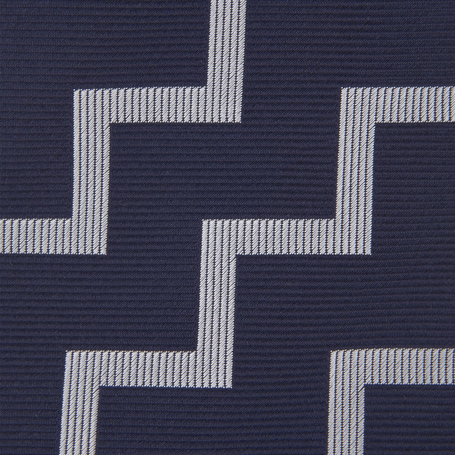 Navy and White Striped Zigzag Silk Tie