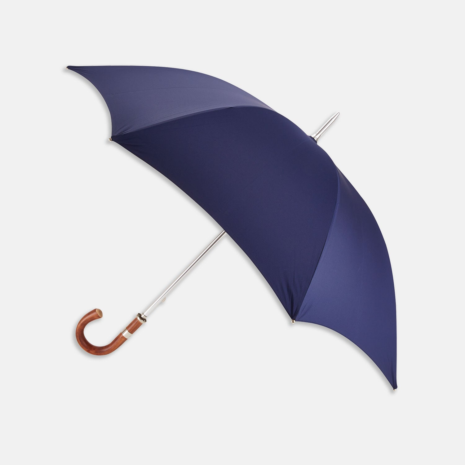 Navy Umbrella with Chestnut Crook