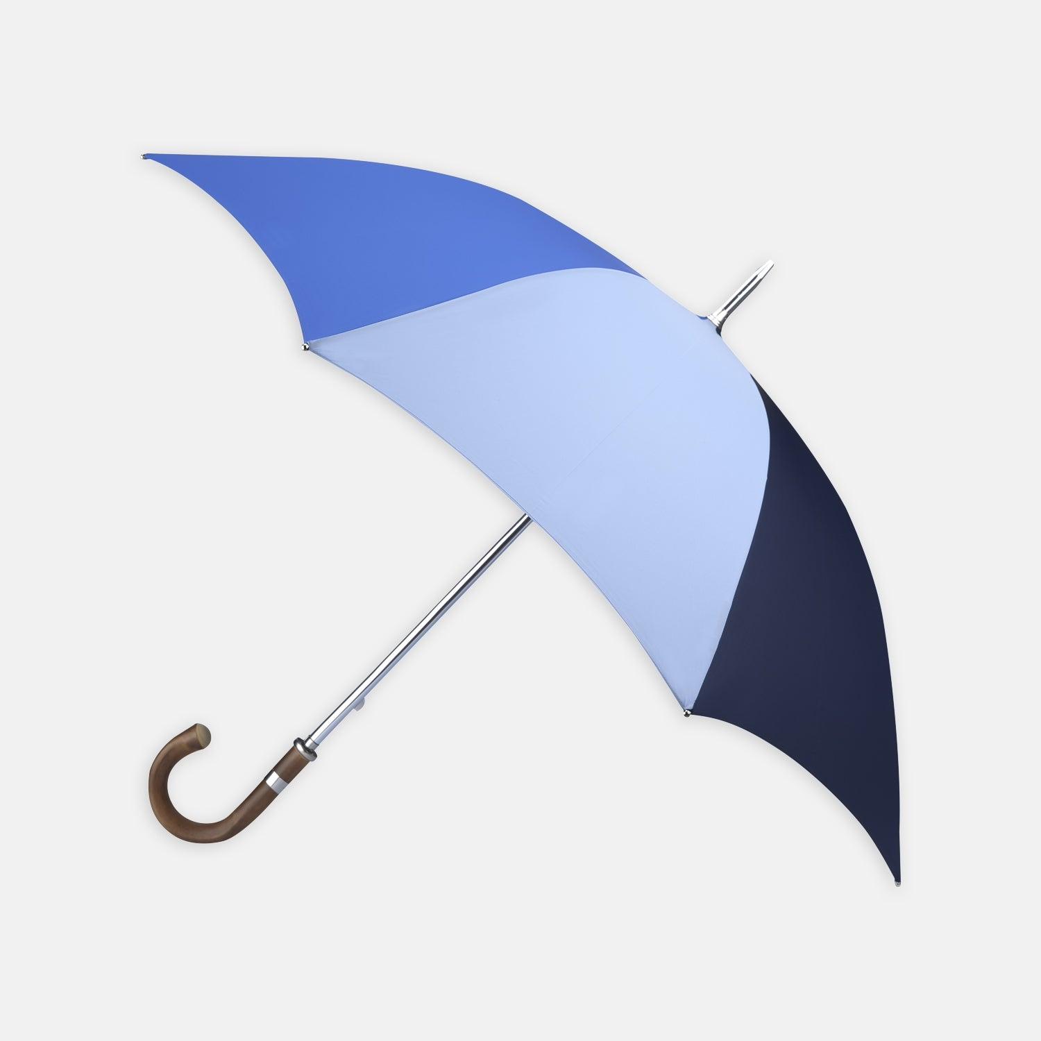 Sky, Royal Blue and Navy Umbrella with Chestnut Crook