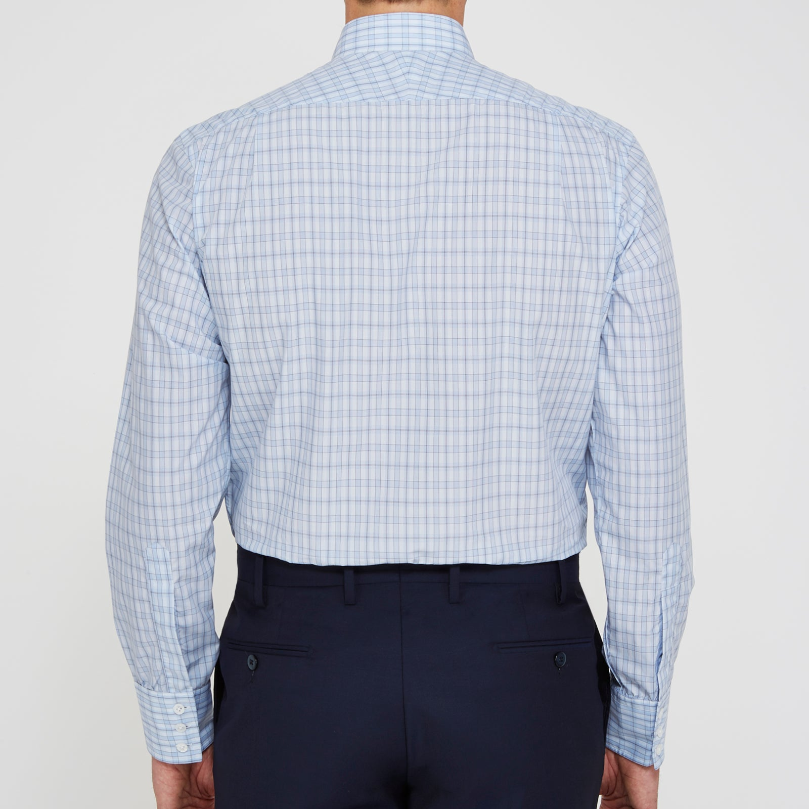Exclusive Tonal Blue Fine Check Shirt with Classic T&A Collar
